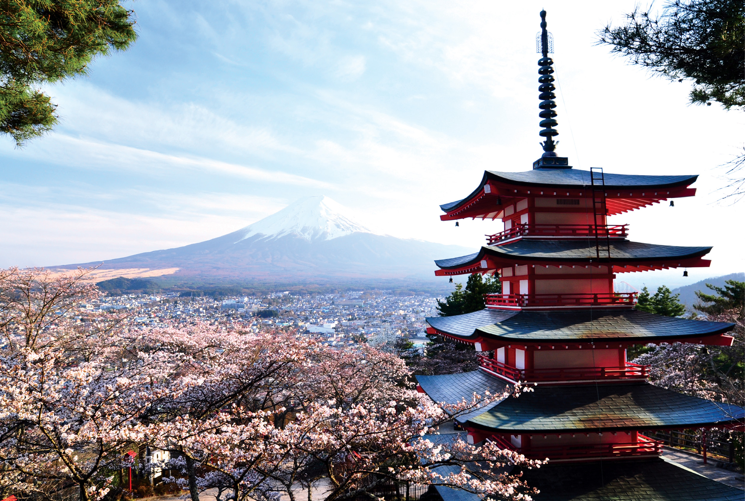 Red pagoda with Mt. Fuji in the background