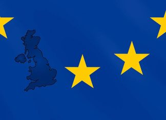 UK map on EU flag