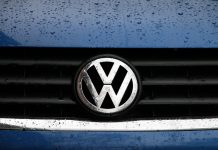 VW badge blue bonnet