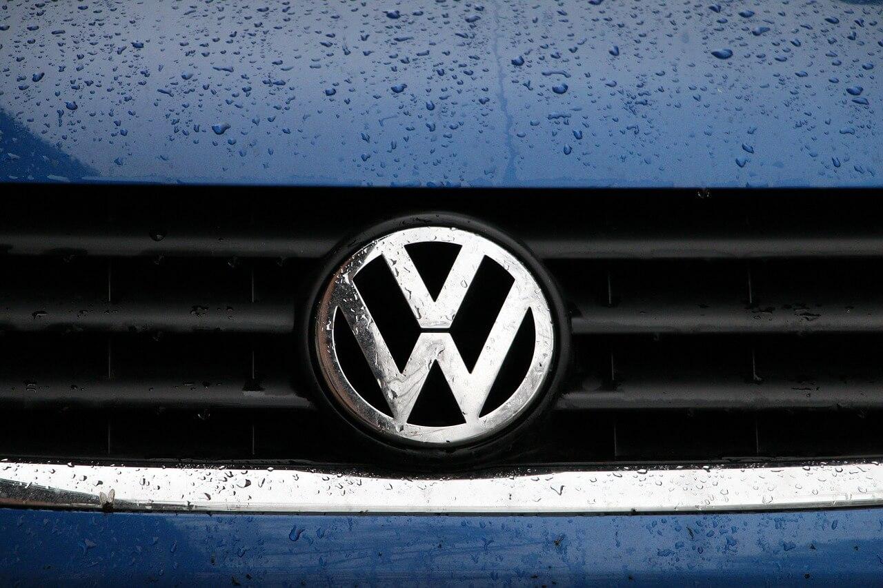 VW badge blue bonnet