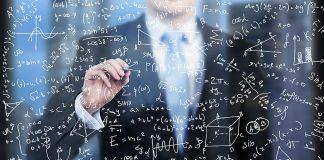 Maths formulas on glass screen
