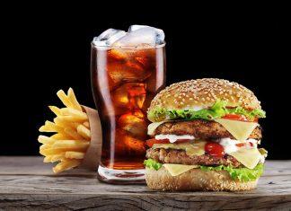 Burger, fries, cola