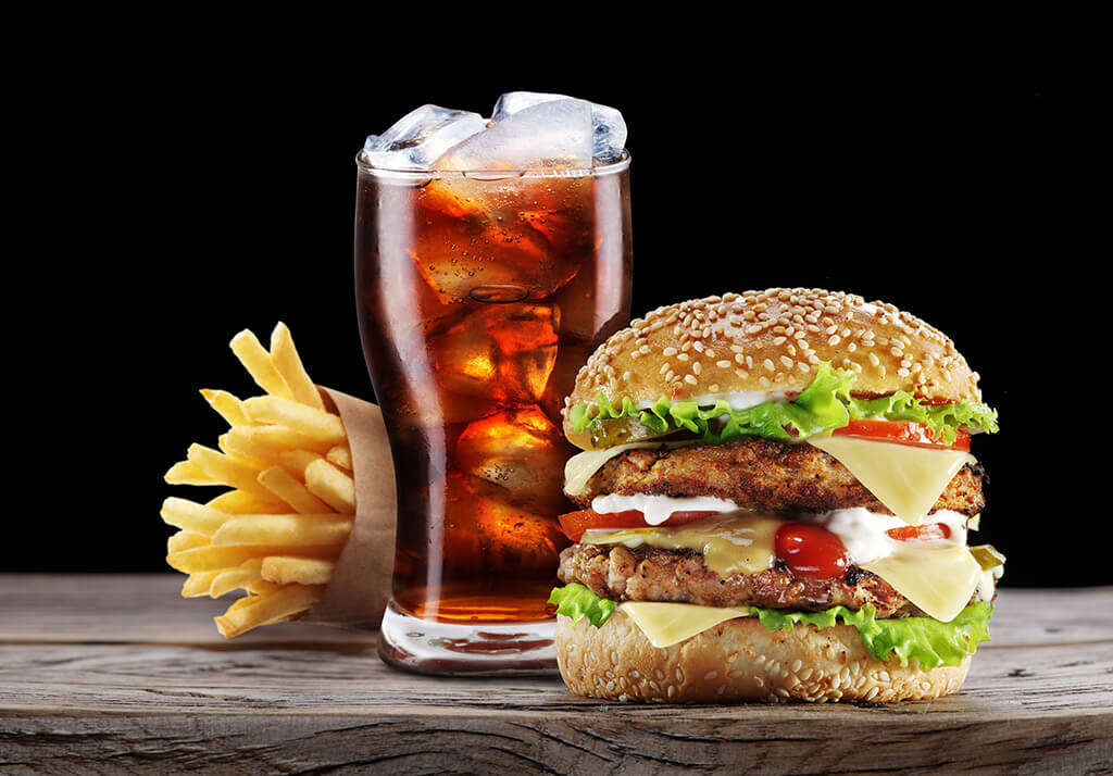 Burger, fries, cola