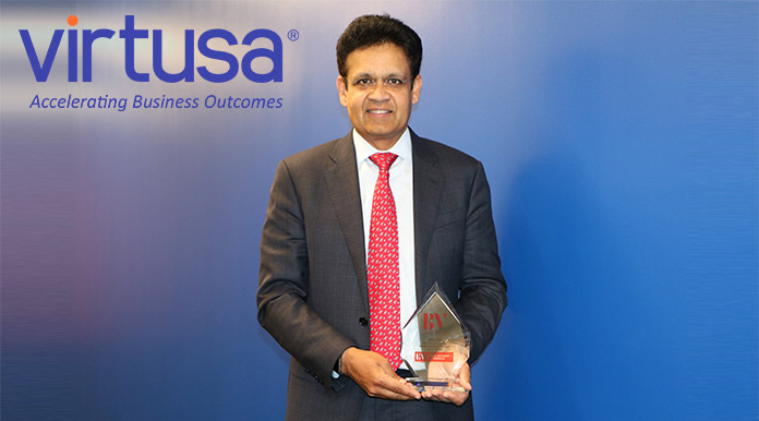 Virtusa CEO with BV award trophy