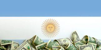 Argentina flag with dollar bills