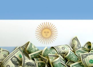 Argentina flag with dollar bills