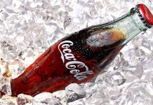 Coke bottle on ice