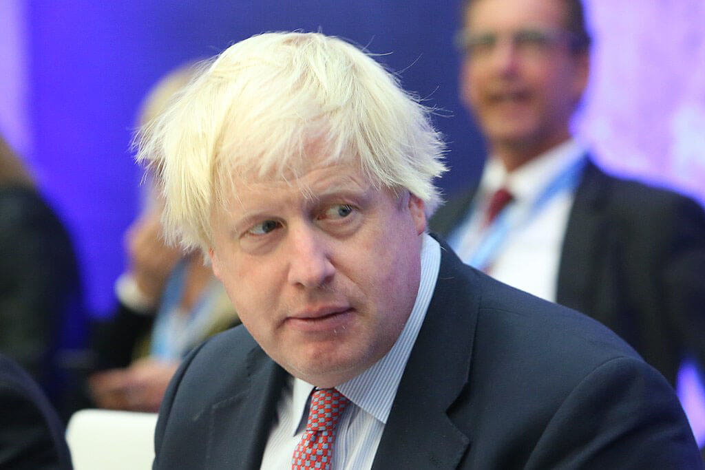 Boris Johnson, UK PM, looking serious