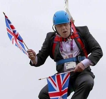 Boris Johnson stuck on zipwire