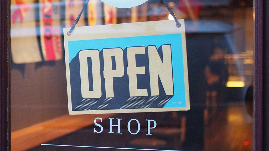 shop door, open sign