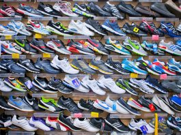 Trainers, sneakers in shop