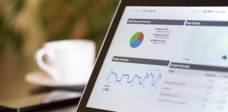 Tablet showing graphs, technology, fintech