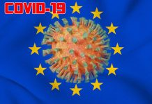 EU flag coronavirus graphic