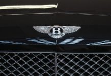 Bentley car bonnet with badge