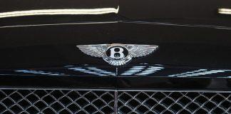 Bentley car bonnet with badge