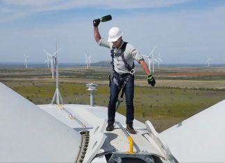 Jeff Bezos, wind turbine, champagne