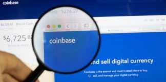 Coinbase website under a mangifying glass