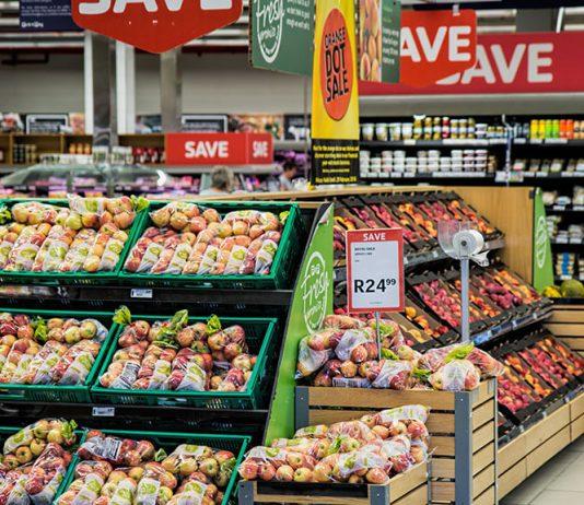 Supermarket fruit section, retail